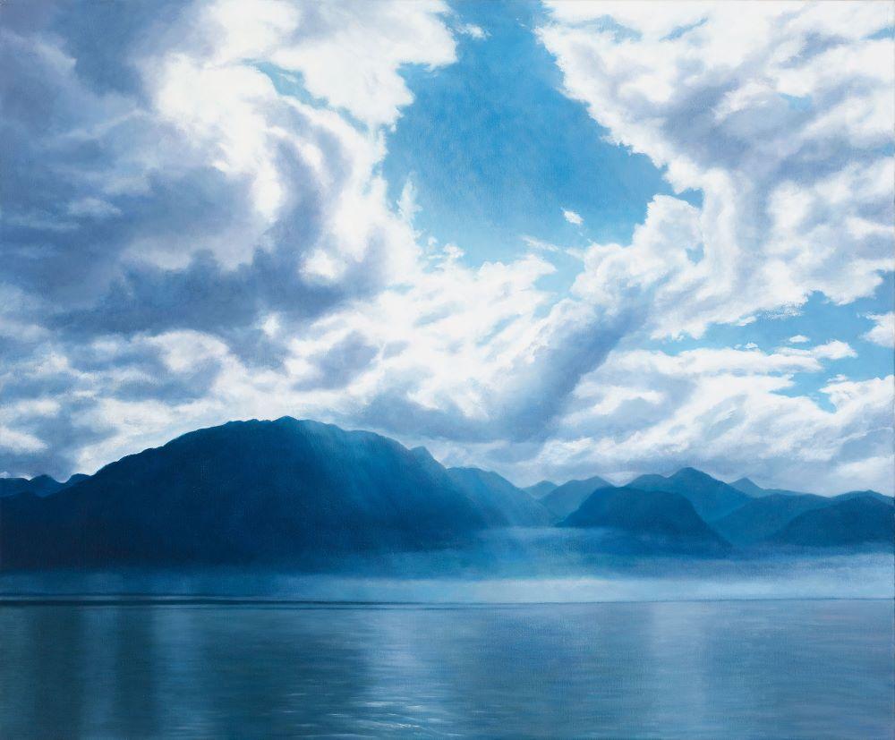 Jill Kempson, Clouds Over Lac Léman, 2019, Oil on Canvas, 120x100cm, $6000
