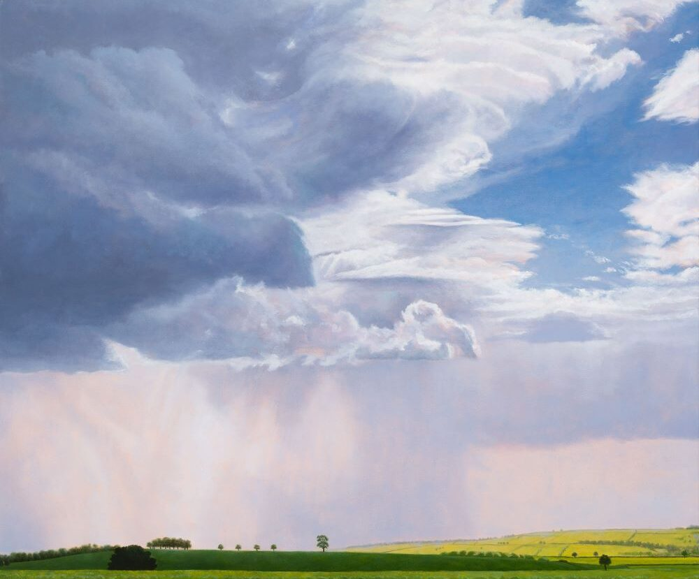Jill Kempson, Gentle Rain-Oxfordshire, 2020, Oil on Canvas, 120x100cms, $6000
