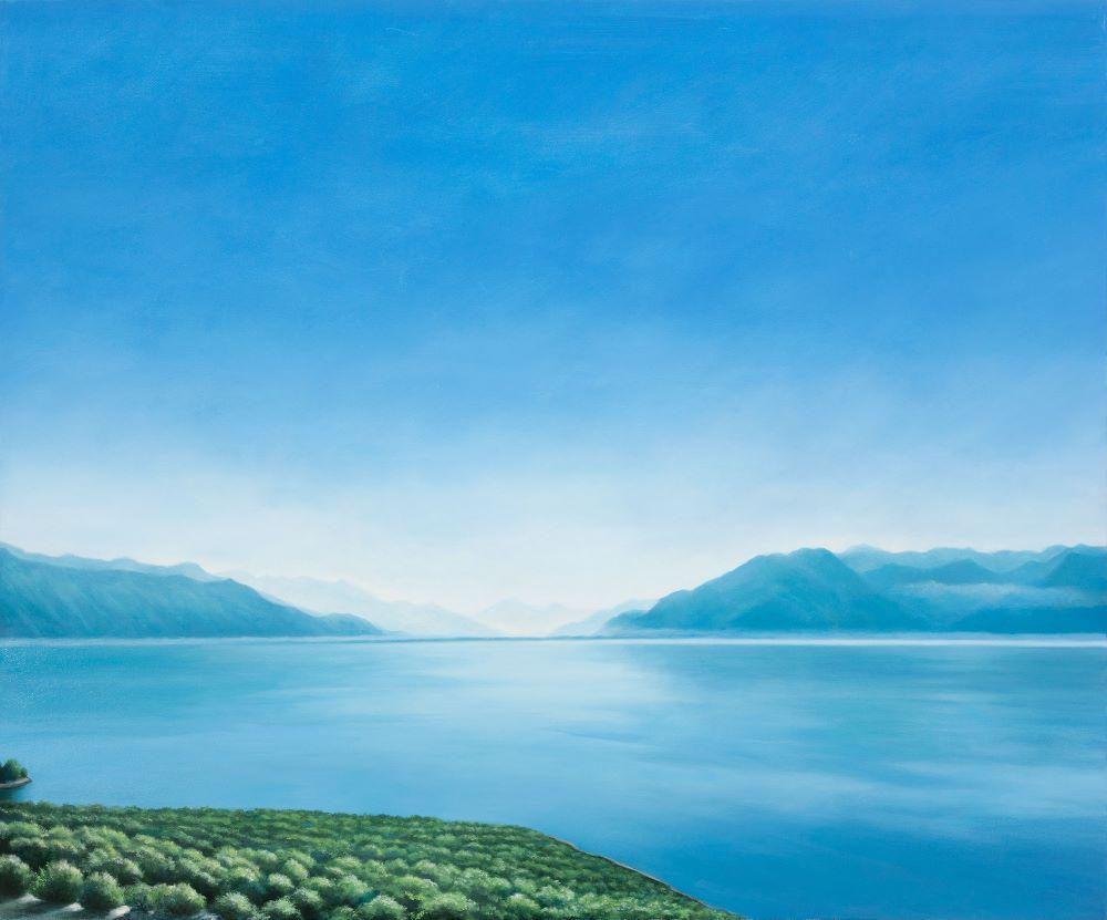Jill Kempson, The Calm-Lac Léman, 2019, Oil on Canvas, 120x100cms $6000