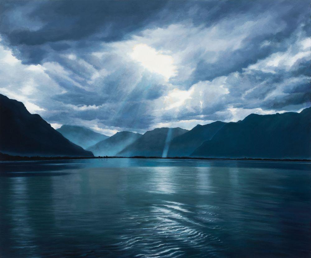 Jill Kempson, When the Light Beams Through-Lac Léman, 2019, Oil on Canvas, 120x100cm, $6000