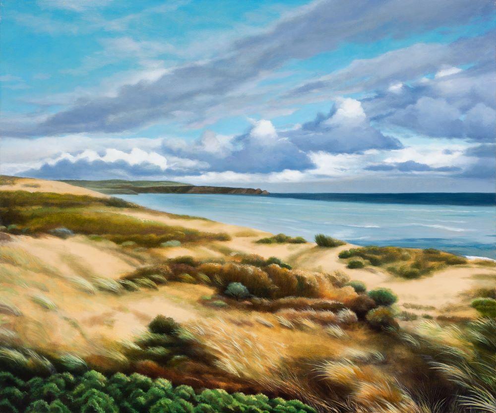 Jill Kempson, Wind Swept-Woolamai Beach, 2020, Oil on Canvas, 100x120cm, $6000