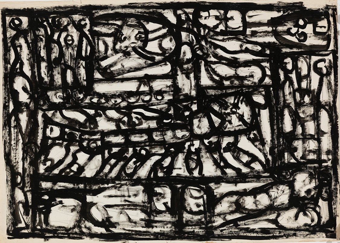 Roger Kemp, Experience with Direction, DWI021, c1968, acrylic on paper, 119 x 86 cm, framed size 144 x 112 cm $12,000