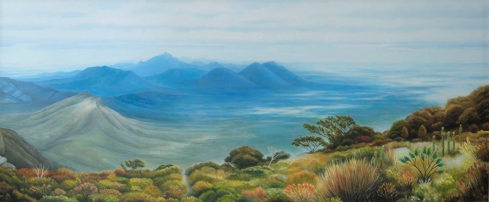 Jill Kempson, Distant Horizons, 2017, oil on canvas, 85 x 205cm $9500