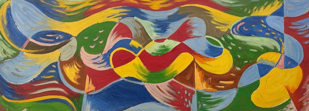 Percy Watson, Colour Tempest, 1971, oil on board, 46 x 122 cm $8000