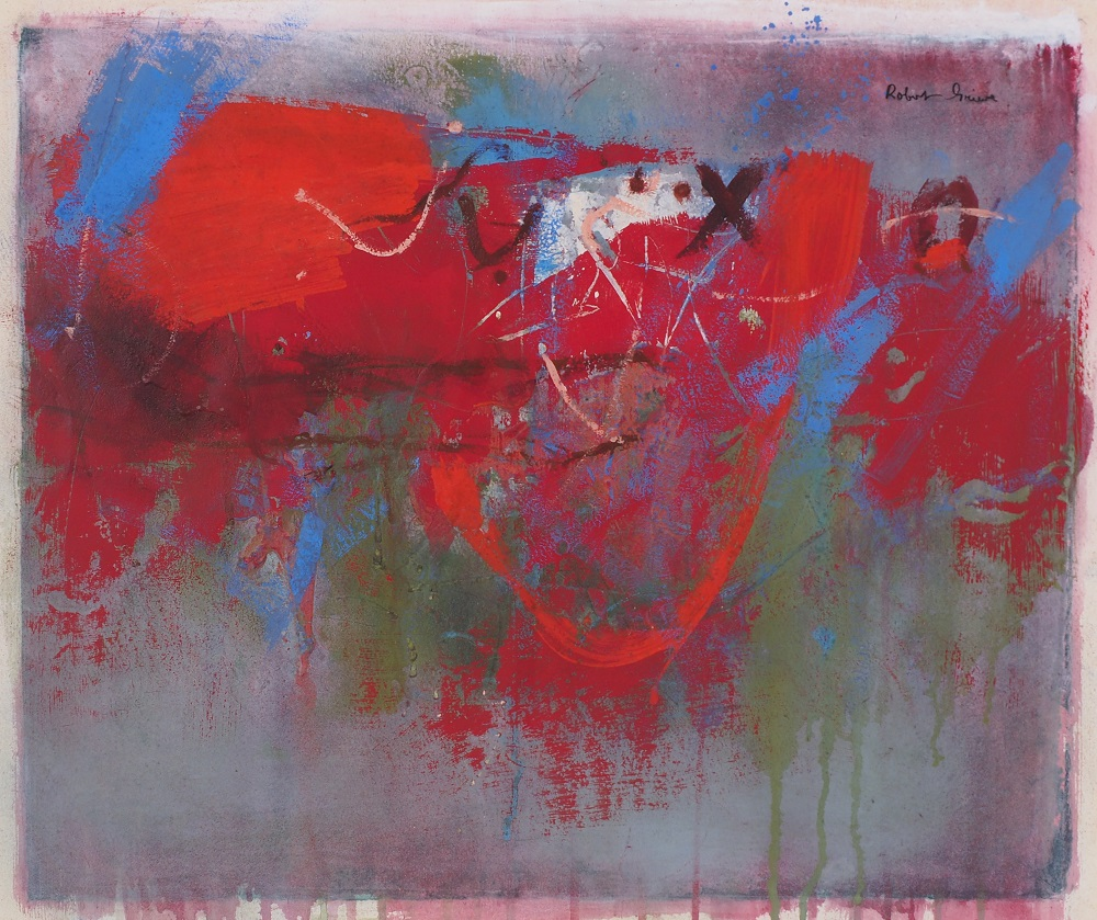 Robert Grieve, Composition-Red & Green-c1990, mixed media on paper, 44 x 51cm $2500