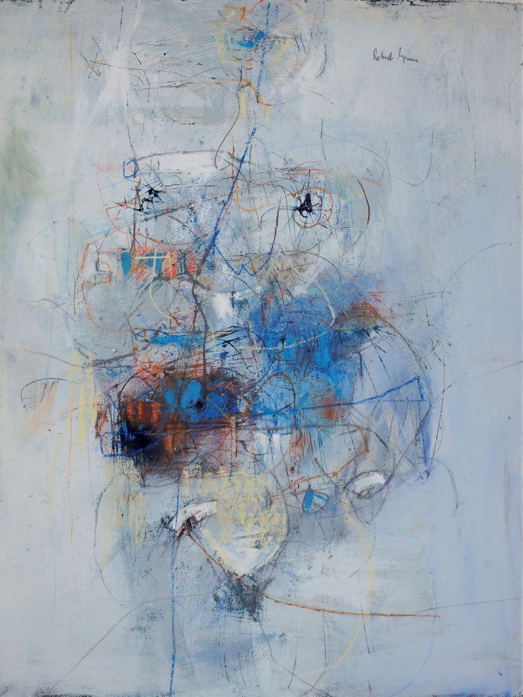 Robert Grieve, Emerging Figure - Blue, mixed media on paper, 69 x 54cm $3800