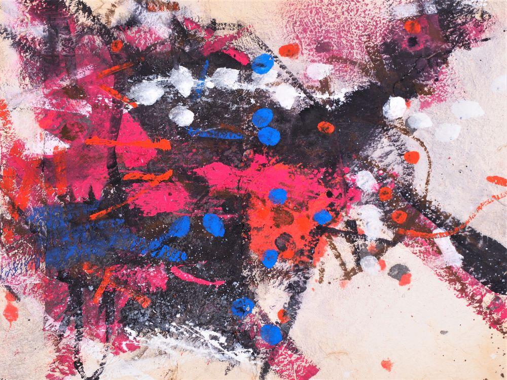 Robert Grieve, Magenta Theme, c1995, mixed media on paper, 56 x 75cm $6000 .