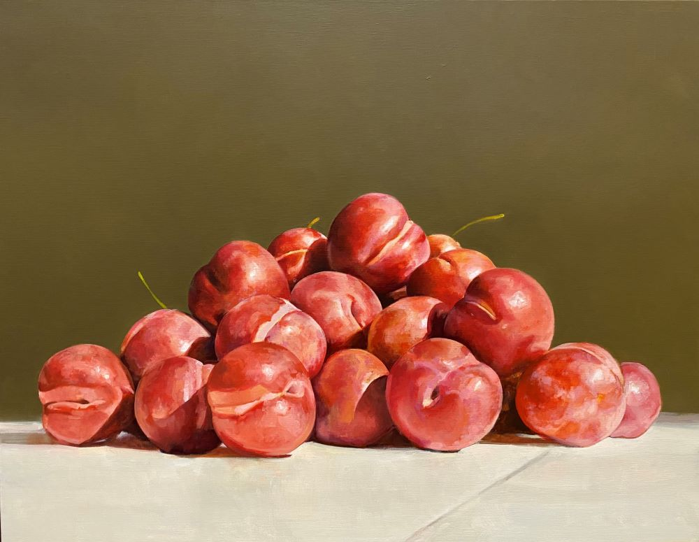 Carlo Golin, Red Plums, 2021, oil on linen, 71 x 91 cm $6000