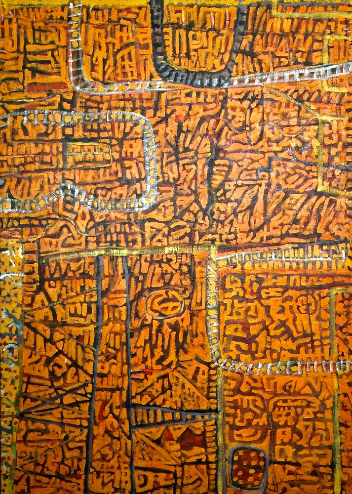 Wayne Eager, Sandhill Country 1995, acrylic on linen, 167x120cm $7000